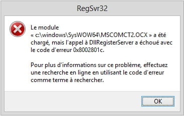 regsvr32 mscomct2 ocx