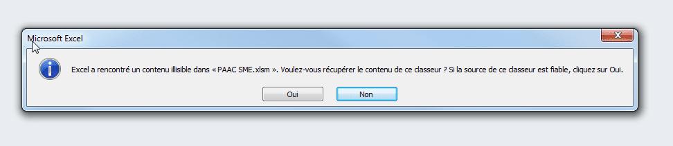 SOS réparation fichier xlsx