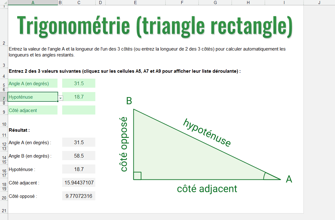 trigonometrie excel triangle rectangle