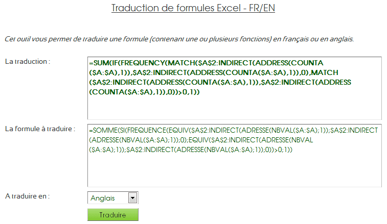 traductions formules