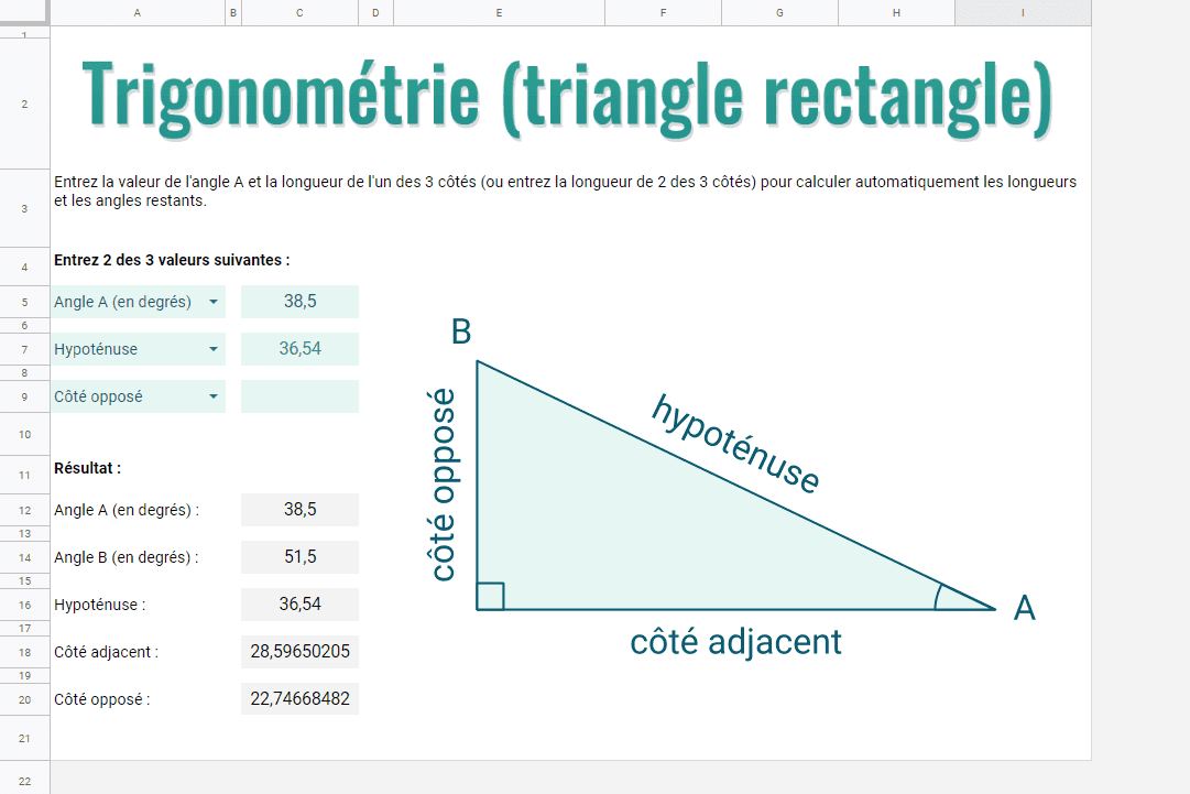 trigonometrie sheets triangle rectangle