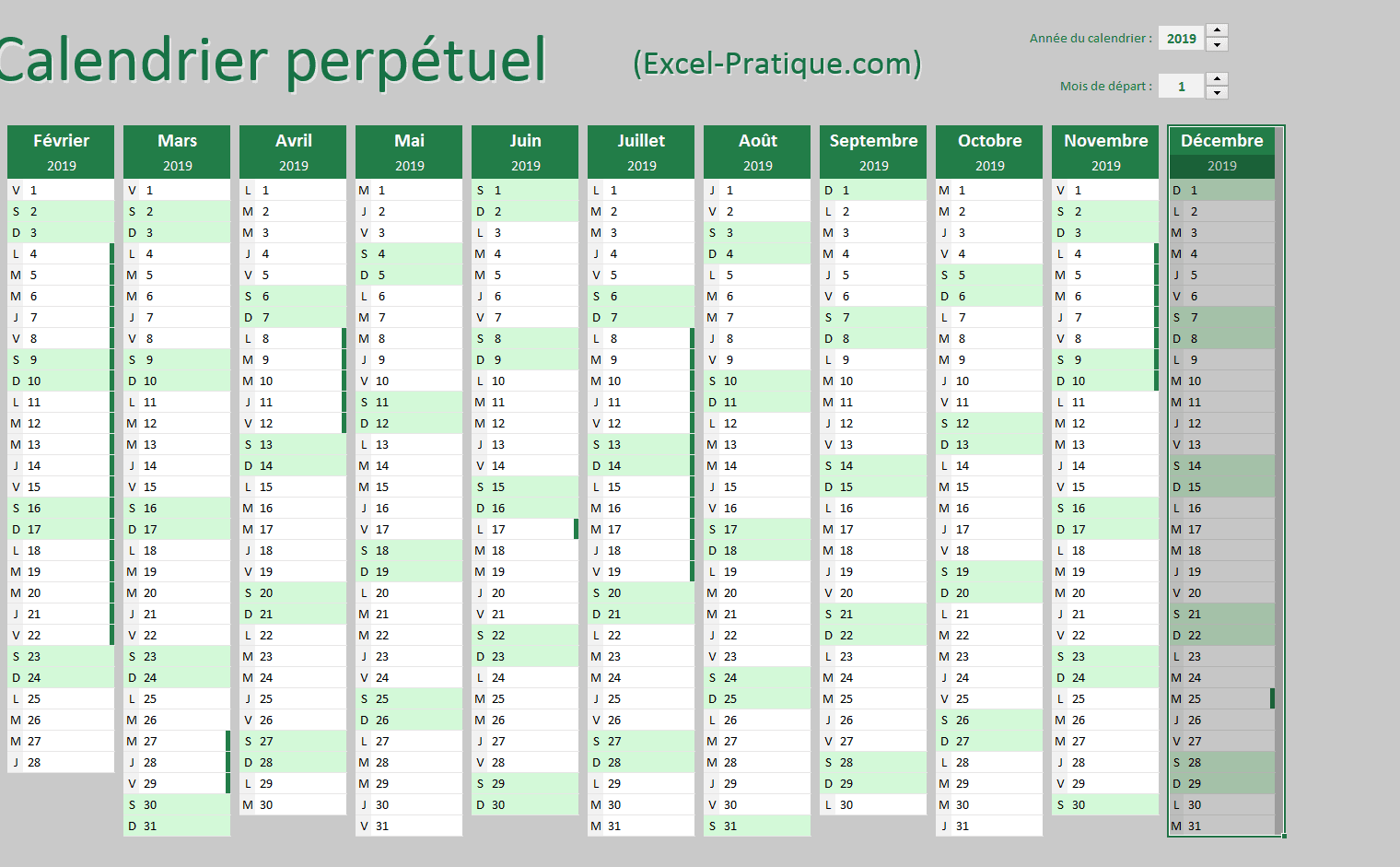 calendrier perpetuel excel selection