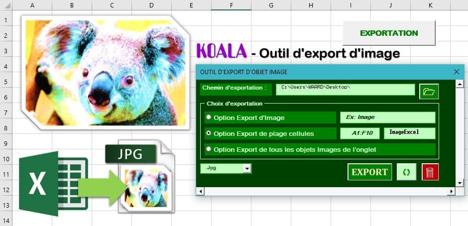 koala export image excel screen
