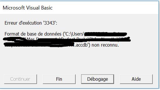 message erreur