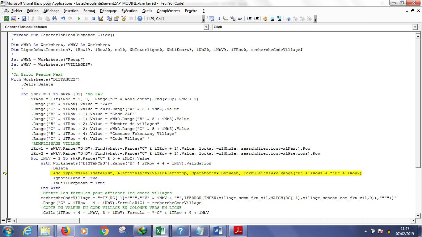 erreur listevalidation