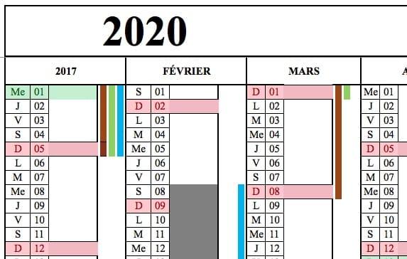 modele calendrier