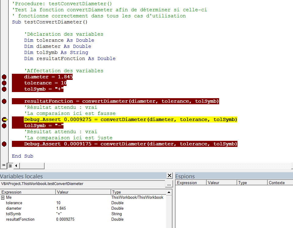 probleme debug assert contenu variables